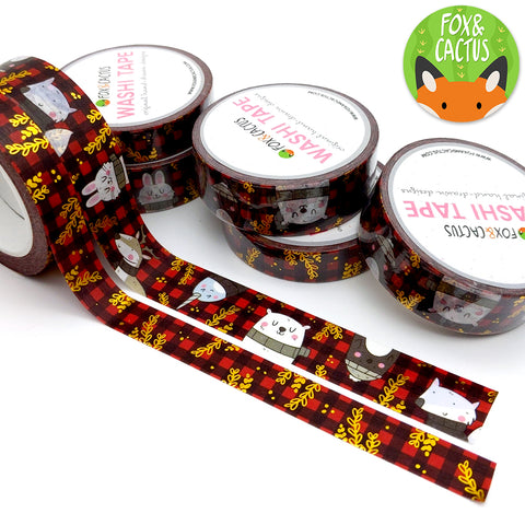 Gold Foil Cosy Animal Plaid Washi Tape Set (W0073 + W0074)