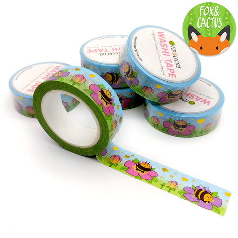 Gold Foil Spring Bees Washi Tape (W0079)