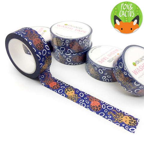 Silver Foil Deep Blue Octopus Washi Tape (W0098)
