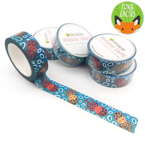 Silver Foil Teal Lagoon Octopus Washi Tape (W0098)