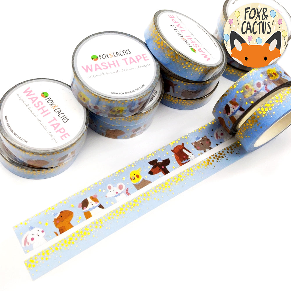 Gold Foil Party Animals & Confetti (Blue) Washi Tape Set (W0099 + W0100)
