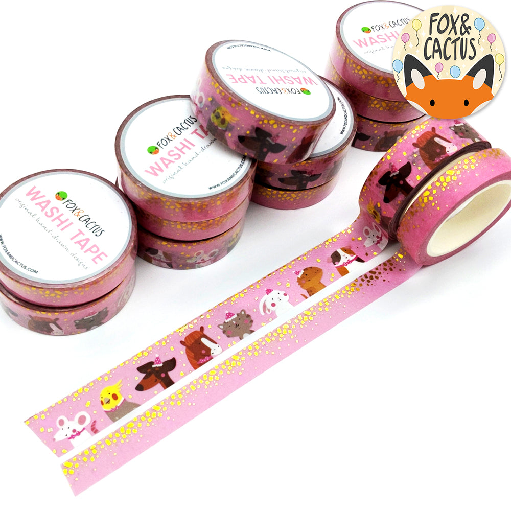 Gold Foil Party Animals & Confetti (Pink) Washi Tape Set (W0099 + W0100)