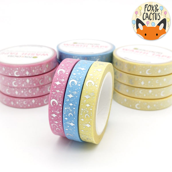 Silver Foil Celestial Birthday 7.5mm Washi Tape Set (W0110)