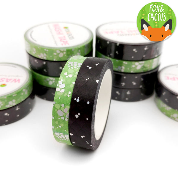 Holo Foil Black Dragon Washi Tape Set (W0111 + W0112)