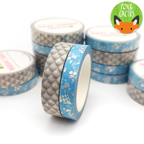 Holo Foil White Dragon Washi Tape Set (W0111 + W0112)