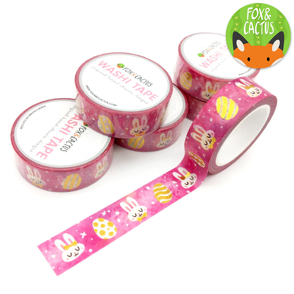 Gold Foil Pink Bunnies 2.0 Washi Tape (W0114)