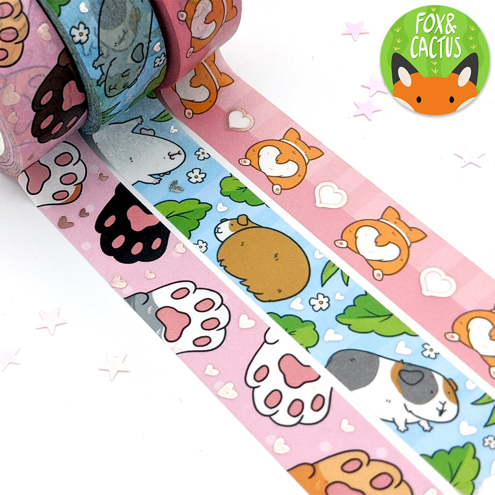 Rose Gold Foil Cat Beans Washi Tape (W0169)