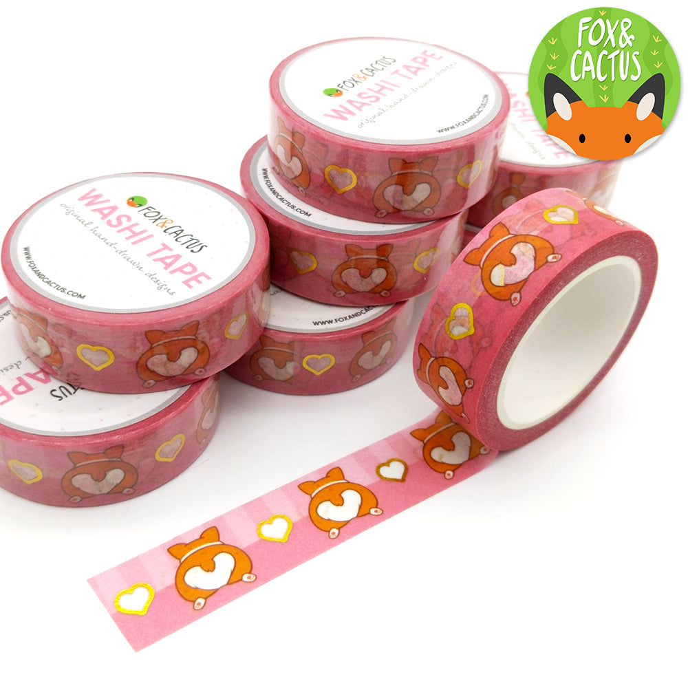 Gold Foil Corgi Booties Washi Tape (W0118)