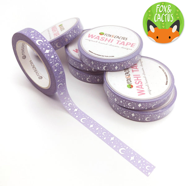 Silver Foil Celestial Purple Washi Tape (W0123)