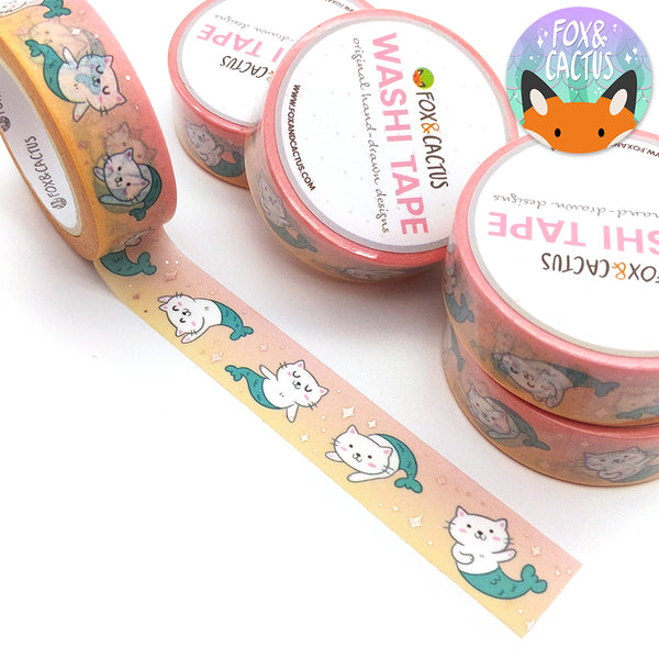 Rose Gold Foil Peachy Purrmaid Washi Tape (W0126)