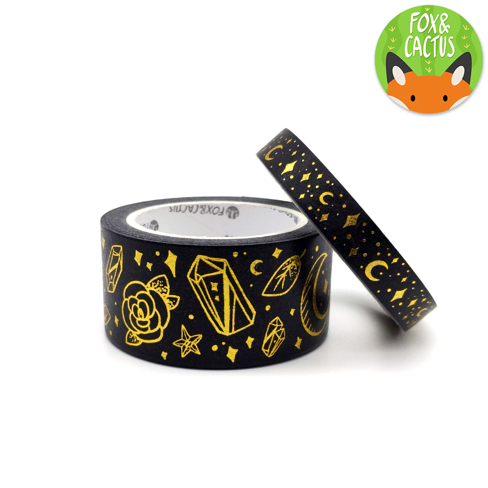 Gold Foil Witchy Vibes Black Washi Tape Set (W0137 + W0138)
