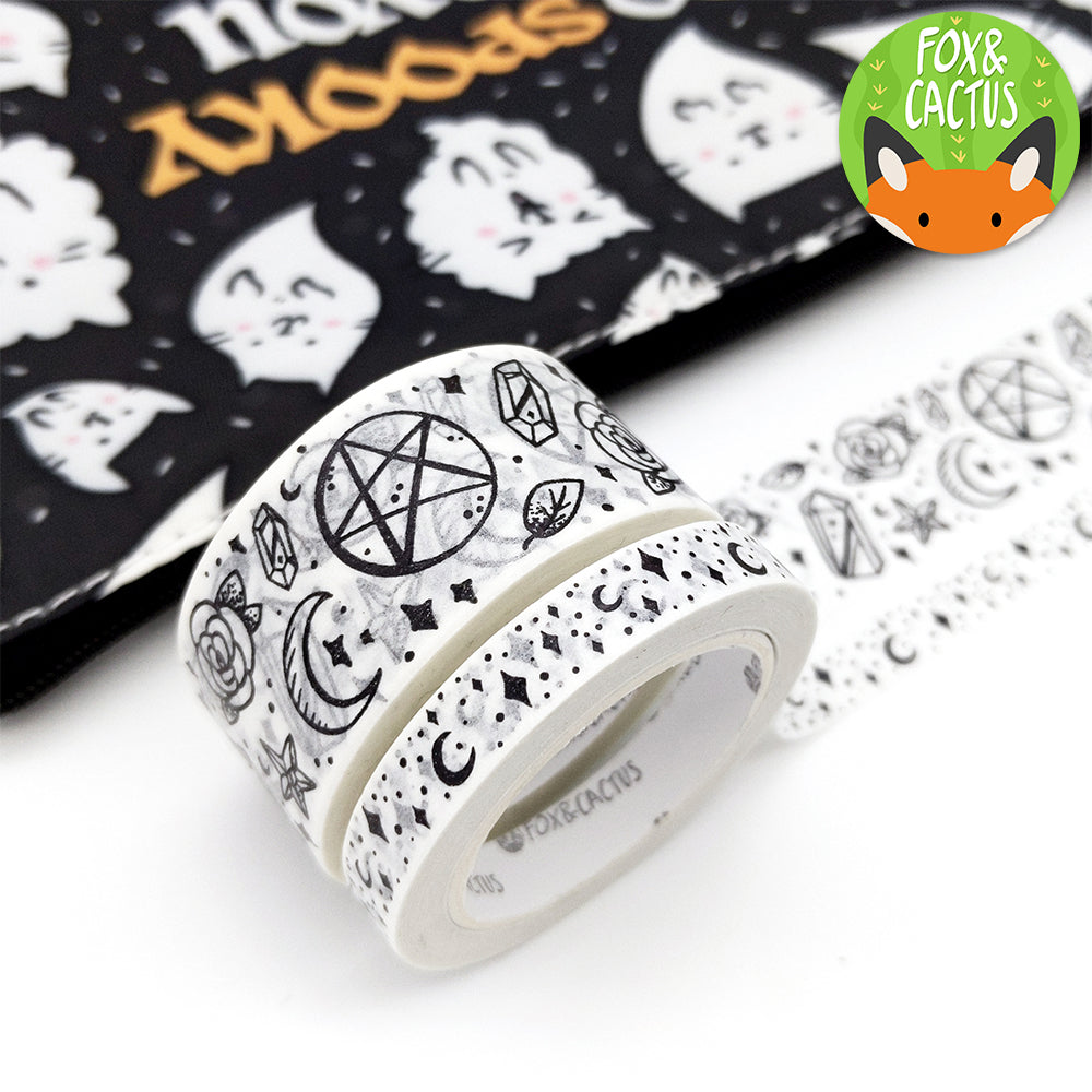 Black Foil Witchy Vibes (White Witch) Washi Tape Set (W0139 + W0140)