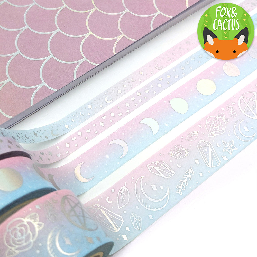 Holo Foil Moon Phases (Cotton Candy) Washi Tape (W0141)