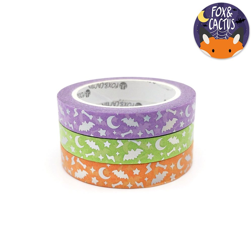 Holo Foil Spooky Sparkles (Colourful) 7.5mm Washi Tape Set (W0150)