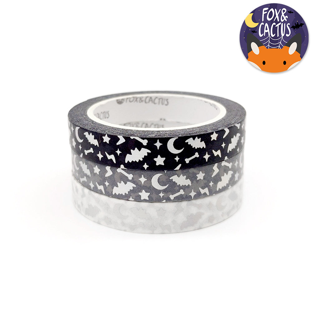 Holo Foil Spooky Sparkles (Neutral) 7.5mm Washi Tape Set (W0150)