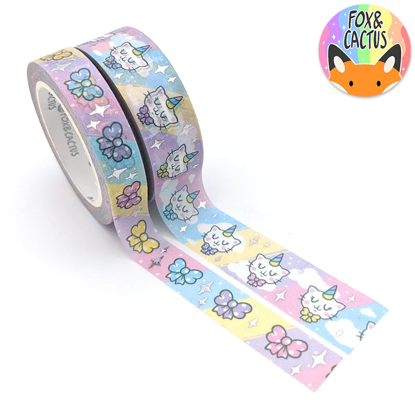 Holo Star Foil Caticorn Washi Tape Set (W0159 + W0160)