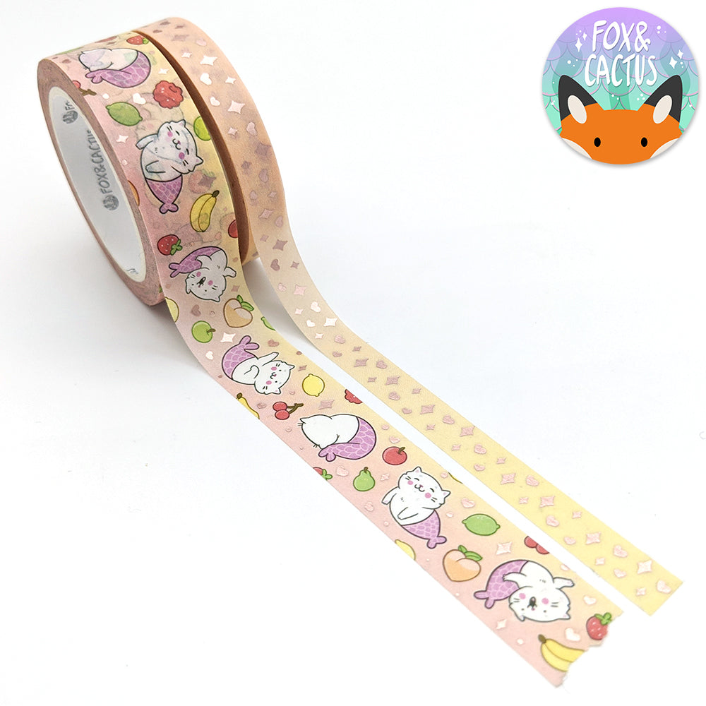 Rose Gold Foil Purrmaid Fruits Washi Tape Set (W0172 + W0173)
