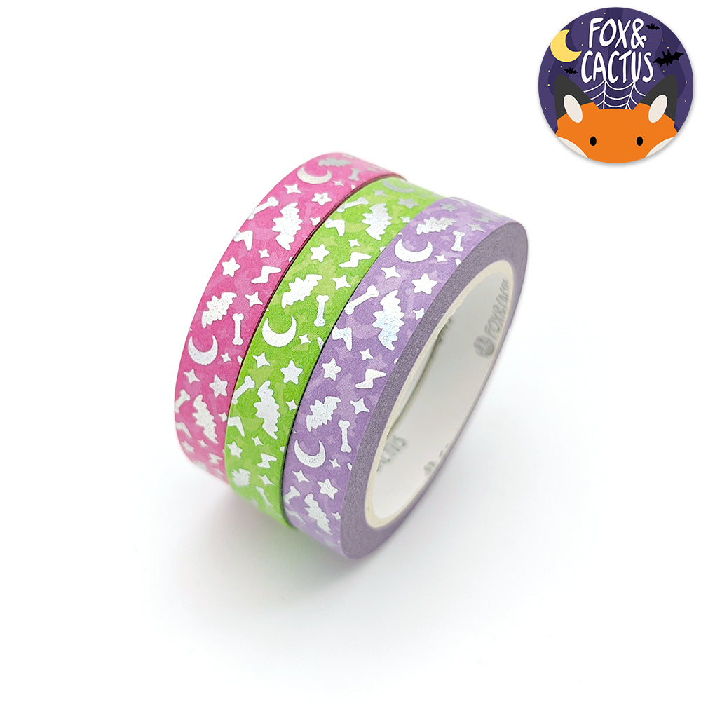 Holo Foil Spooky Sparkles (Rad) 7.5mm Washi Tape Set (W0184)