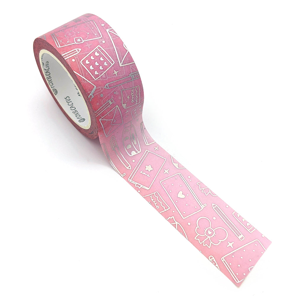 Holo Foil Stationery Lover (Bubble Gum) Washi Tape (W0194)