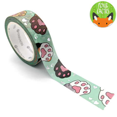 Silver Foil Cat Beans (Mint) Washi Tape (W0199)