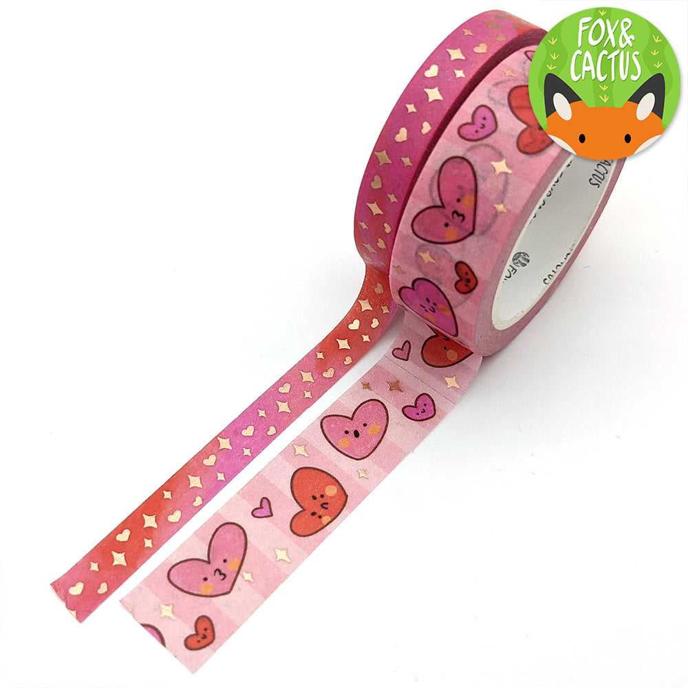 Rose Gold Foil Sweet Hearts Washi Tape Set (W0208 + W0209)