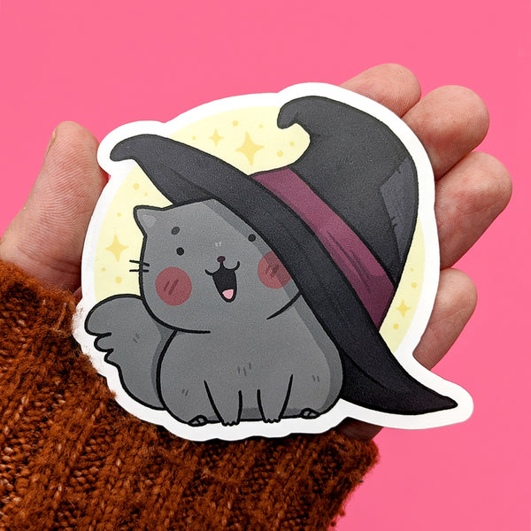 Witchy Hat Cat Vinyl Die Cut Sticker (ST0184)