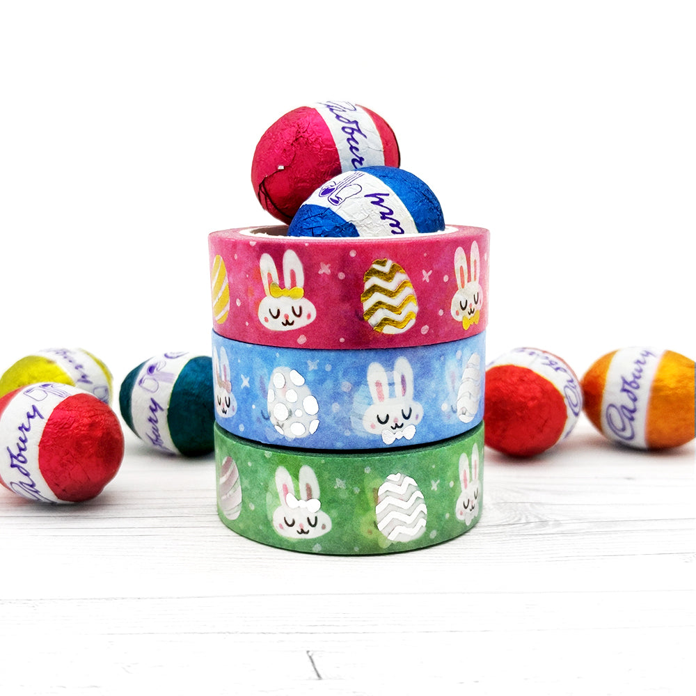 Silver Foil Blue Bunnies Washi Tape (W0113)