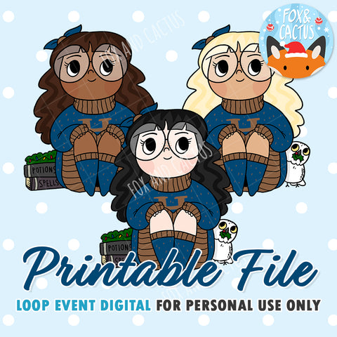 Cosy Wizard (Blue) Girls (DIGITAL DOWNLOAD) - Printable/Clipart File - Personal Use Only