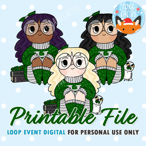 Cosy Wizard (Green) Girls (DIGITAL DOWNLOAD) - Printable/Clipart File - Personal Use Only