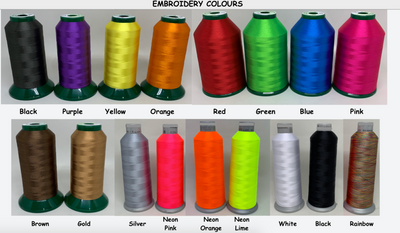 Embroidery threads used in our Australian Made custom ID Dog Collars