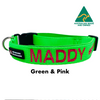 Green and Pink embroidered custom ID Collar Australian Made