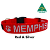 Red and White embroidered custom ID Collar Australian Made