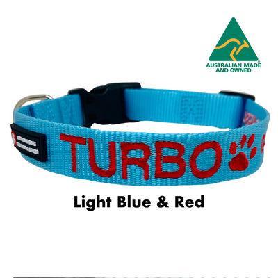 Light Blue and Red embroidered custom ID Collar Australian Made