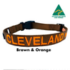Brown and Neon Orange embroidered custom ID Collar Australian Made