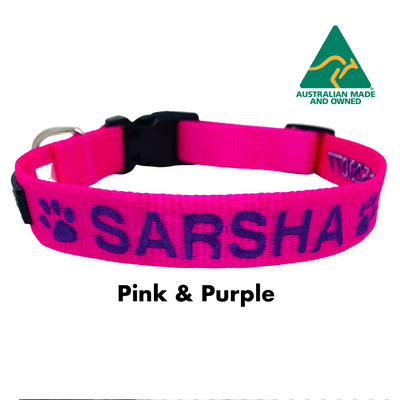 Pink and Purple embroidered custom ID Collar Australian Made