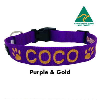 Purple and Gold embroidered custom ID Collar Australian Made