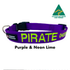 Purple with Neon Lime embroidered custom ID Collar Australian Made