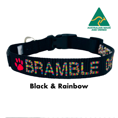 Black with Rainbow Embroidery embroidered custom ID Collar Australian Made
