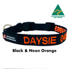 Black with Neon Orange embroidered custom ID Collar Australian Made