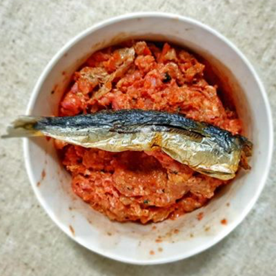 Raw dog food topped with catch of the day small oily fish