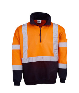 Hi Vis Day Night Fleecy Jumper With Cross Tape | Workwear