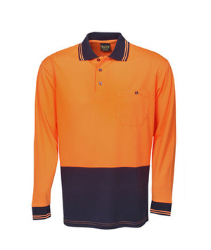 Hi Vis Long Sleeve Light Weight Cooldry Polo | Workwear