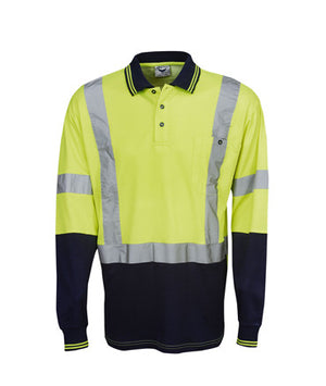 Hi Vis Long Sleeve Day Night Cotton Back Polo | Workwear