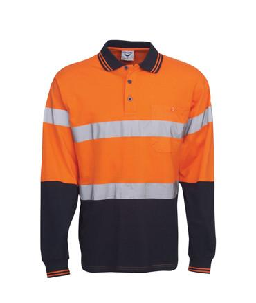 Long Sleeve Cotton Hi Vis Polo Reflective Tape | Workwear