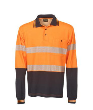 L/S Segment Taped Cotton Back Hi Vis Polo Shirt