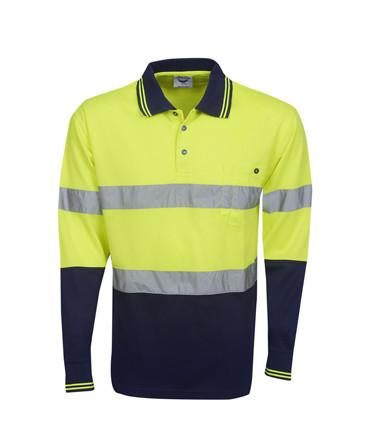 Hi Vis Long Sleeve Day Night Cooldry Polo | Workwear