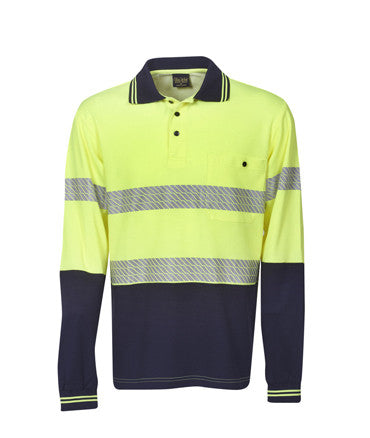 Hi Vis Long Sleeve Segment Tape Cotton Back Polo | Workwear
