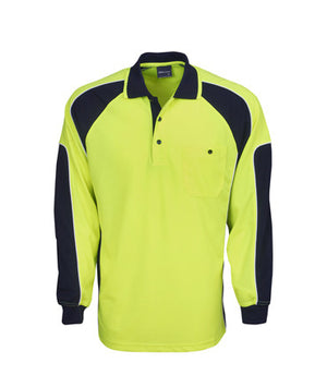 Hi Vis Long Sleeve Cooldry Side Panel Polo | Workwear
