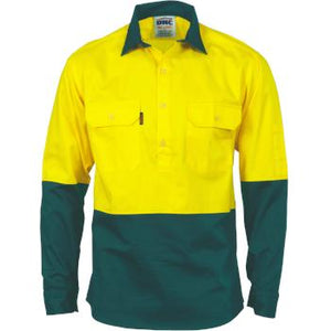 DNC Hi-Vis L/S Two Tone Close Front Cotton Drill Shirt