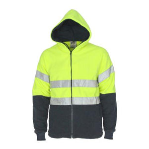 Hi vis full zip polar fleece hoodie with CSR R/tape